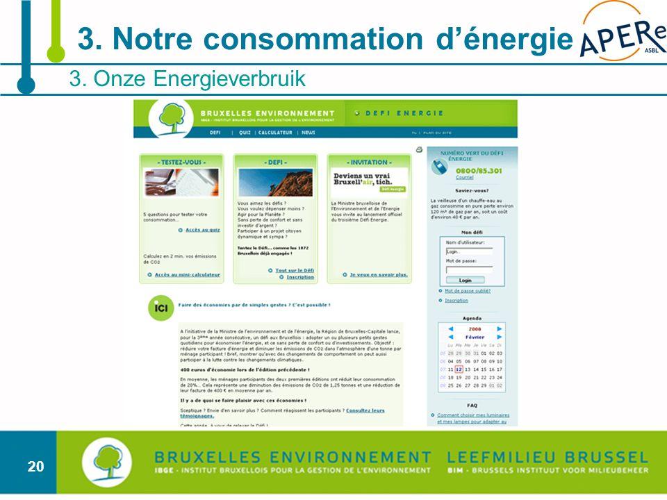 20 3. Onze Energieverbruik 3. Notre consommation dénergie