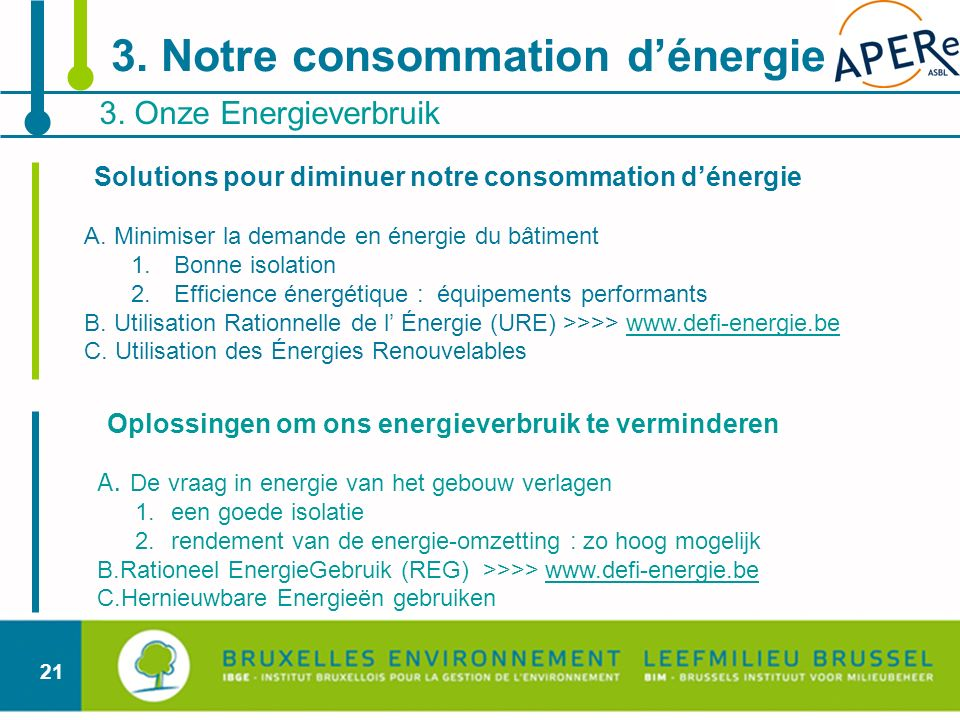 21 Oplossingen om ons energieverbruik te verminderen A. De vraag in energie van het gebouw verlagen 1.een goede isolatie 2.rendement van de energie-om
