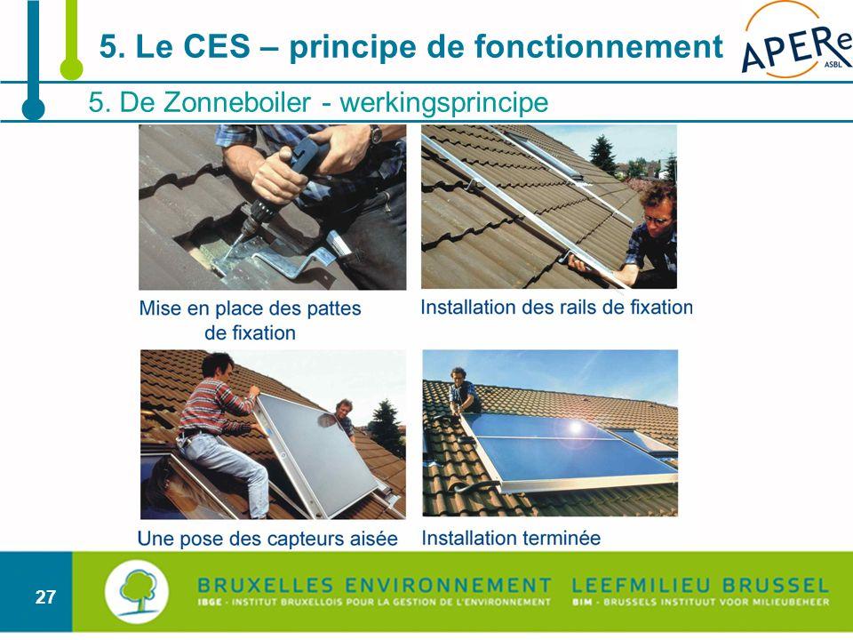 27 5. De Zonneboiler - werkingsprincipe 5. Le CES – principe de fonctionnement