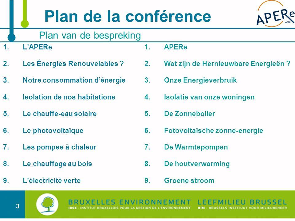 3 Plan de la conférence Plan van de bespreking 1.LAPERe 2.Les Énergies Renouvelables ? 3.Notre consommation dénergie 4.Isolation de nos habitations 5.