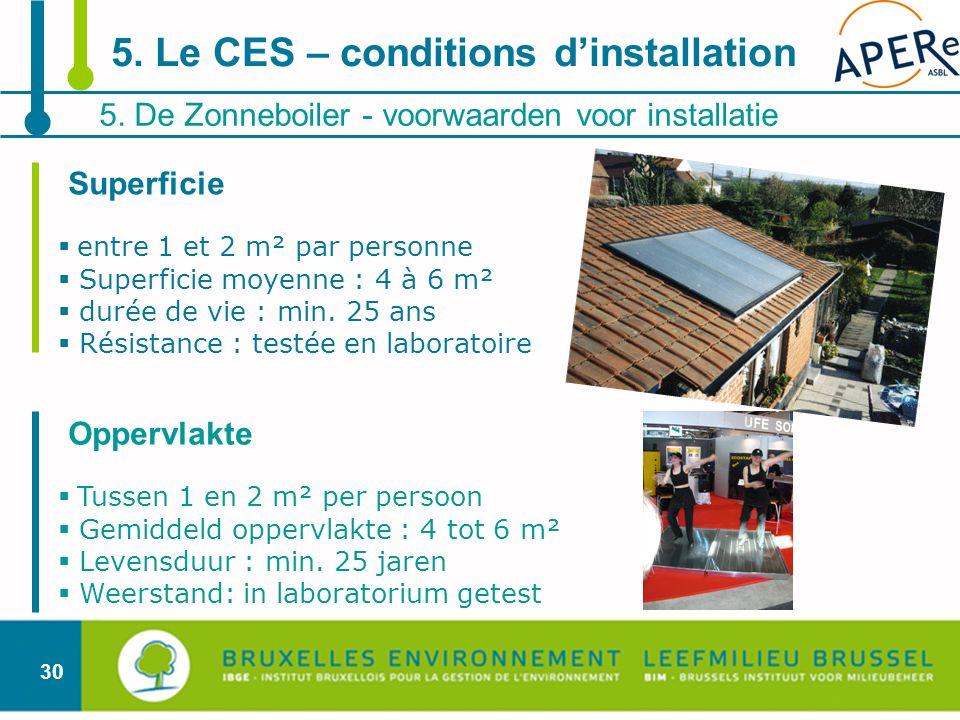 30 5. De Zonneboiler - voorwaarden voor installatie 5. Le CES – conditions dinstallation Superficie entre 1 et 2 m² par personne Superficie moyenne :