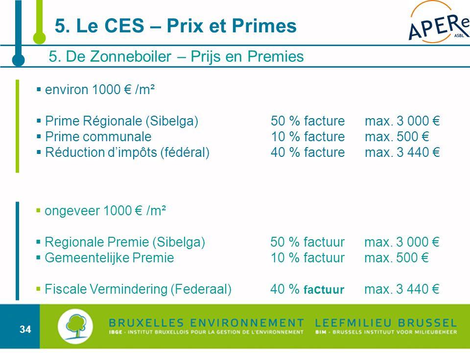 34 5. De Zonneboiler – Prijs en Premies 5. Le CES – Prix et Primes environ 1000 /m² Prime Régionale (Sibelga)50 % facturemax. 3 000 Prime communale 10