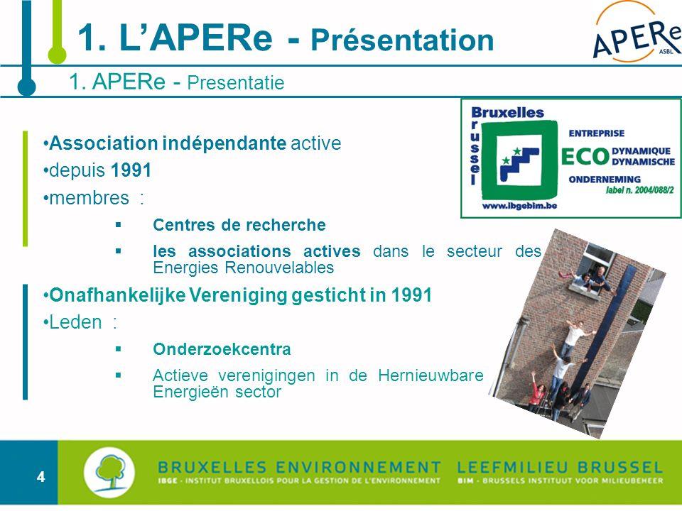 4 Association indépendante active depuis 1991 membres : Centres de recherche les associations actives dans le secteur des Energies Renouvelables Onafh