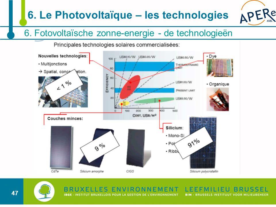 47 6. Fotovoltaïsche zonne-energie - de technologieën 6. Le Photovoltaïque – les technologies