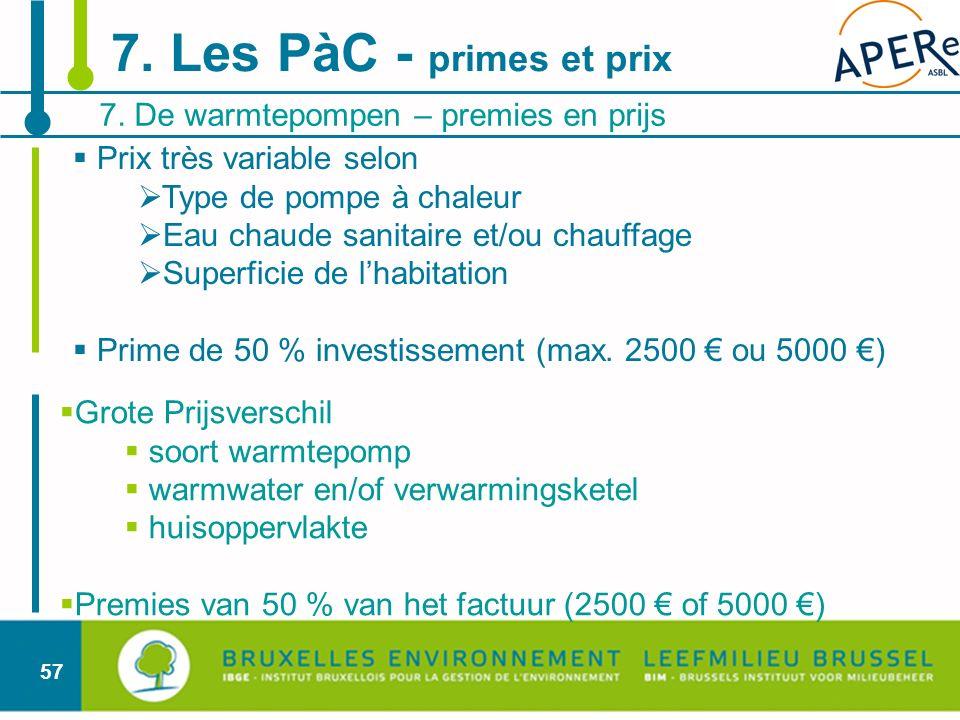 57 Prix très variable selon Type de pompe à chaleur Eau chaude sanitaire et/ou chauffage Superficie de lhabitation Prime de 50 % investissement (max.