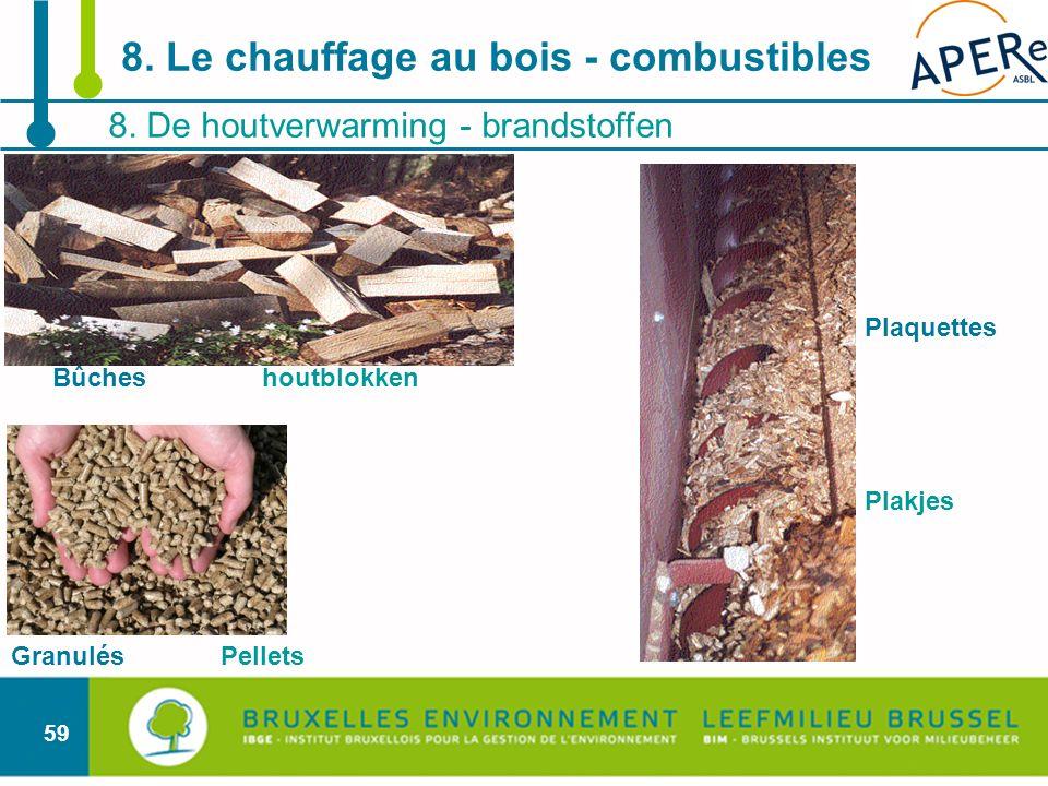 59 8. De houtverwarming - brandstoffen 8. Le chauffage au bois - combustibles Bûches houtblokken Granulés Pellets Plaquettes Plakjes