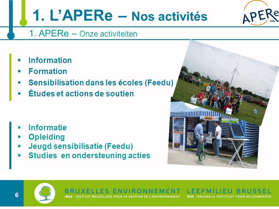 6 Information Formation Sensibilisation dans les écoles (Feedu) Études et actions de soutien Informatie Opleiding Jeugd sensibilisatie (Feedu) Studies