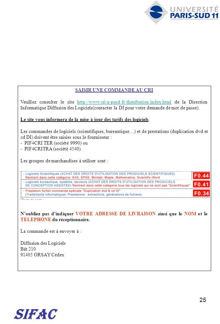 25 SIFAC SAISIR UNE COMMANDE AU CRI Veuillez consulter le site http://www.cri.u-psud.fr/distribution/index.html de la Direction Informatique Diffusion