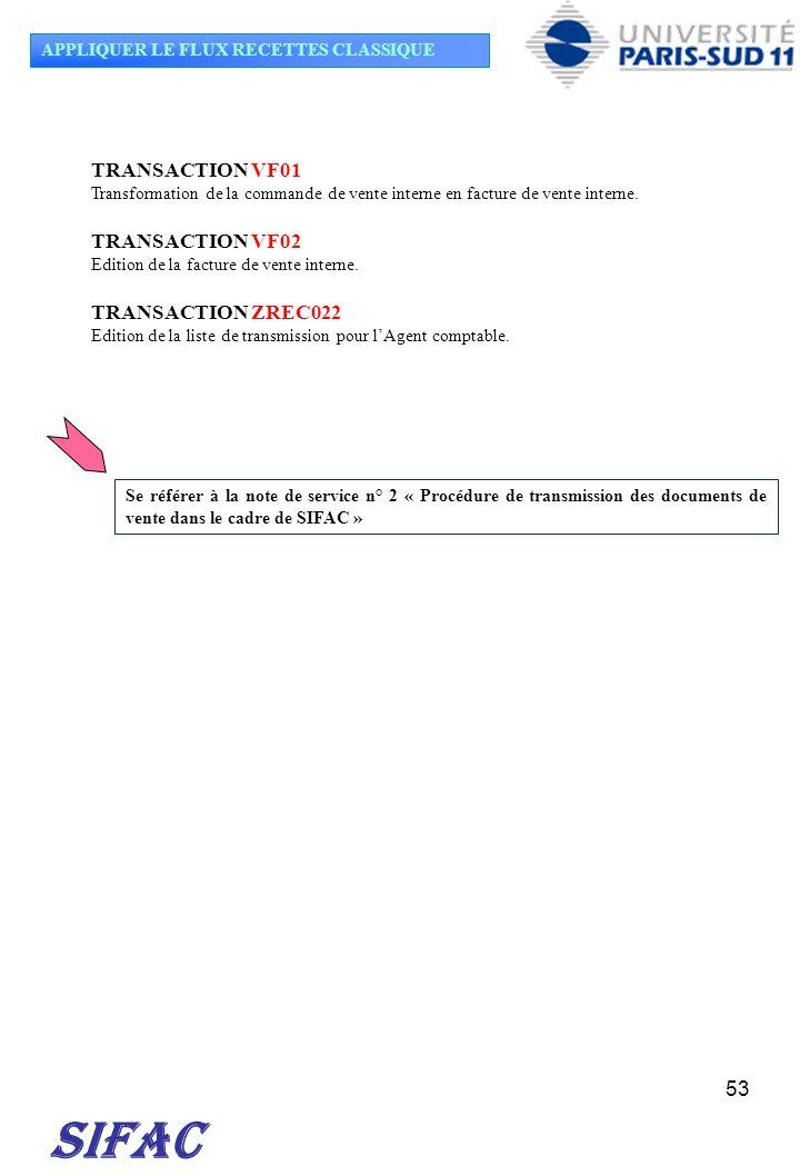53 TRANSACTION VF01 Transformation de la commande de vente interne en facture de vente interne. TRANSACTION VF02 Edition de la facture de vente intern
