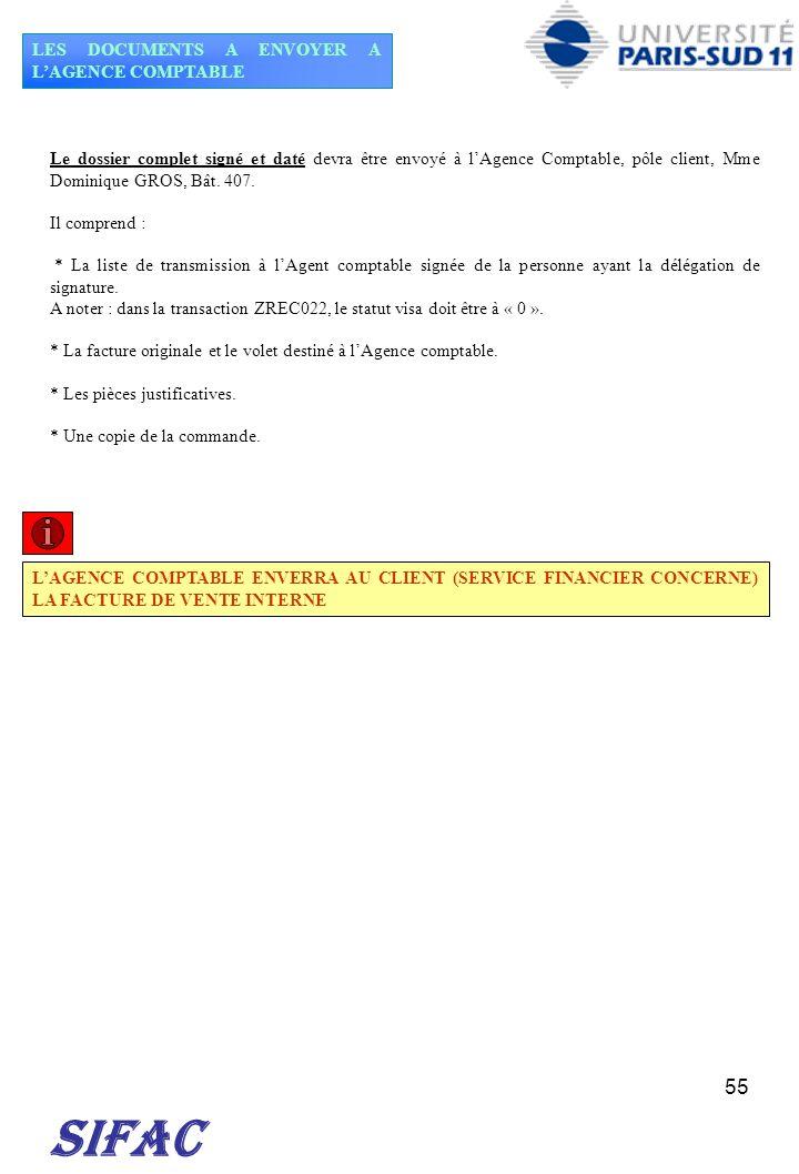 55 SIFAC LES DOCUMENTS A ENVOYER A LAGENCE COMPTABLE LAGENCE COMPTABLE ENVERRA AU CLIENT (SERVICE FINANCIER CONCERNE) LA FACTURE DE VENTE INTERNE Le d