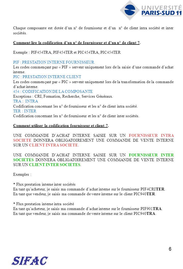 17 SIFAC E3.20 AUTRES GROS EQUIPEMEMENTS DE LABORATOIRE E3.21 MATERIELS POUR DESINFECTION, STERILISATION ET LAVAGE DES INSTRUMENTS 18606700 E3.22 GROS EQUIPEMENTS D AGITATION, DE FRACTIONNEMENT ET DE BROYAGE (ACHAT, REPARATION, MAINTENANCE) 18606700 E3.23 PLANS DE TRAVAIL, RANGEMENTS DE LABORATOIRE ET GROS EQUIPEMENTS DE SECURITE HORS 53.11 (ACHAT, REPARATION, MAINTENANCE) 18606700 E3.30 REPARATION ET MAINTENANCE DES GROS EQUIPEMENTS DE LABORATOIRE E3.31 REPARATION ET MAINTENANCE DES EQUIPEMEMENTS / MACHINES THERMIQUES DE LABORATOIRE (54.01, 54.02, et 54.03) 18615500 E3.32 REPARATION ET MAINTENANCE DES MATERIELS DE TRAITEMENT DES GAZ ET DE L AIR, DE CLIMATISATION, DE SALLE BLANCHE 18615500 E3.33 REPARATION ET MAINTENANCE DES SYSTEMES DE TRAITEMENT DE L EAU ET AUTRES FLUIDES 18615500 E3.34 REPARATION ET MAINTENANCE DES ENCEINTES DE CONFINEMENT ET EQUIPEMENT DE PROTECTION A FILTRATION 18615500 E3.35 REPARATION ET MAINTENANCE DES MATERIELS DE STERILISATION, DESINFECTION ET LAVAGE 18615500 E4 GROSSE INSTRUMENTATION SCIENTIFIQUE E4.00 MATERIELS POUR LA MICROSCOPIE E4.01 MATERIELS ET ACCESSOIRES POUR LA MICROSCOPIE PHOTONIQUE 18606700 E4.L1 LOGICIELS POUR LA MICROSCOPIE PHOTONIQUE 18604000 E4.02 MATERIELS ET ACCESSOIRES POUR LA MICROSCOPIE A CHAMP PROCHE 18606700 E4.L2 LOGICIELS POUR LA MICROSCOPIE A CHAMP PROCHE 18604000 E4.03 MATERIELS ET ACCESSOIRES POUR LA MICROSCOPIE ELECTRONIQUE ET IONIQUE 18606700 E4.L3 LOGICIELS POUR LA MICROSCOPIE ELECTRONIQUE ET IONIQUE 18604000 E4.10 MATERIELS DE SPECTROSCOPIE / SPECTROMETRIE E4.11 SYSTEMES ET MATERIELS DE SPECTROSCOPIE OPTIQUE, ET APPAREILS DE METROLOGIE OPTIQUE 18606700 E4.S1 LOGICIELS DE SPECTROSCOPIE OPTIQUE ET DE METROLOGIE OPTIQUE 18604000 E4.12 MATERIELS DE SPECTROMETRIE DE MASSE 18606700 E4.S2 LOGICIELS DE SPECTROMETRIE DE MASSE 18604000 E4.13 MATERIELS DE SPECTROMETRIE ELECTRONIQUE ET PHOTONIQUE POUR L ANALYSE DE SURFACE 18606700 E4.S3 LOGICIELS DE SPECTROMETRIE ELECTRONIQUE ET PHOTONIQUE POUR L ANALYSE DE SURFACE 1860
