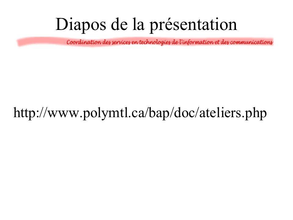 Ressources et références de Poly 1.Présentation PowerPoint sur la réalisation d un exposé dans ELE6904 (18 septembre 2002) : http://www.polymtl.ca/bap/doc/ateliers.php http://www.polymtl.ca/bap/doc/ateliers.php 2.CHASSÉ, Dominique, PRÉGENT, Richard.