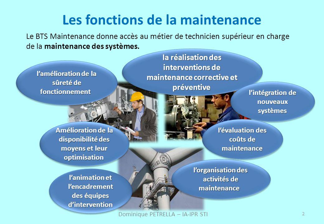2 Les fonctions de la maintenance Le BTS Maintenance donne accès au métier de technicien supérieur en charge de la maintenance des systèmes. Dominique