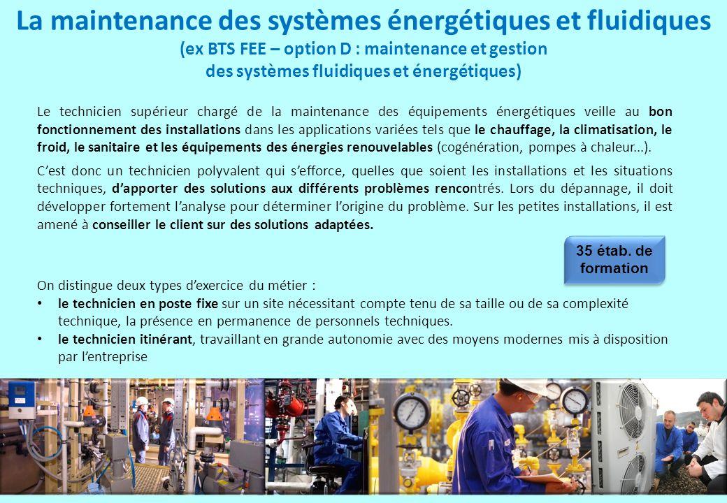 La maintenance des systèmes énergétiques et fluidiques (ex BTS FEE – option D : maintenance et gestion des systèmes fluidiques et énergétiques) Le tec