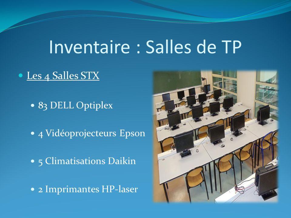 Inventaire : Salles de TP Les 4 Salles STX 83 DELL Optiplex 4 Vidéoprojecteurs Epson 5 Climatisations Daikin 2 Imprimantes HP-laser