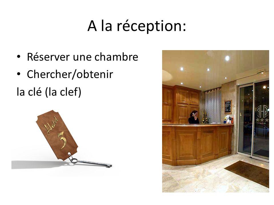 A la réception: Réserver une chambre Chercher/obtenir la clé (la clef)