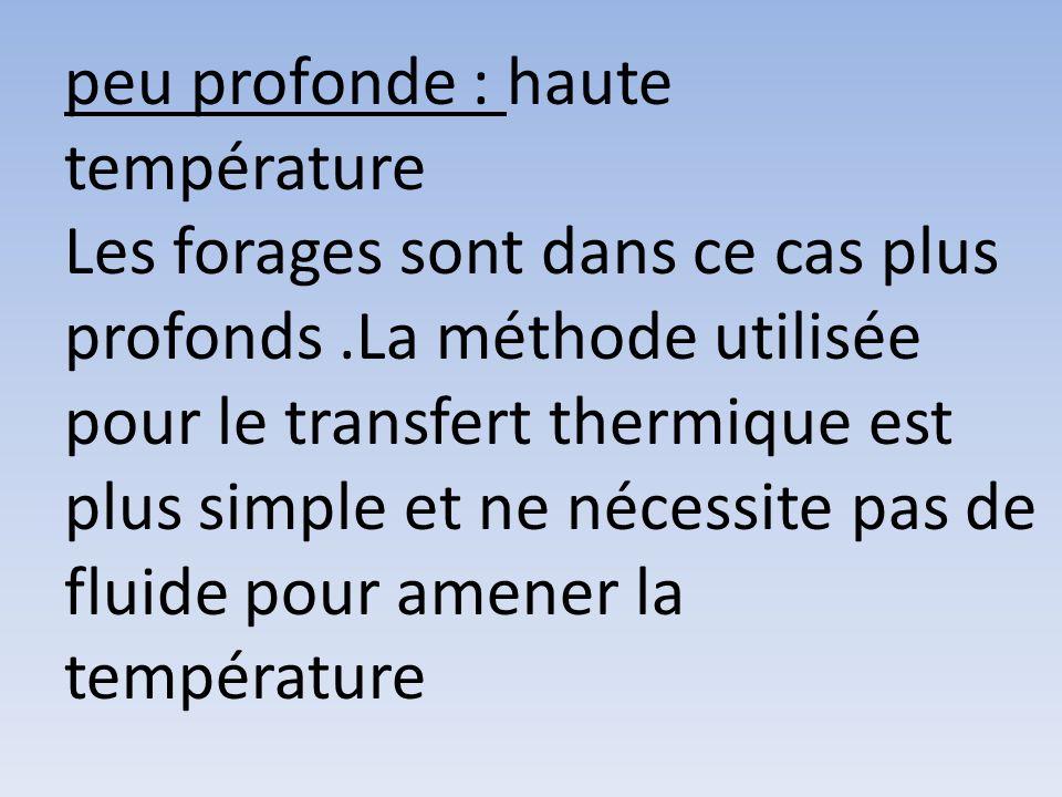 très profonde : très haute température Plus on fore profond dans la croûte terrestre plus la température augmente.