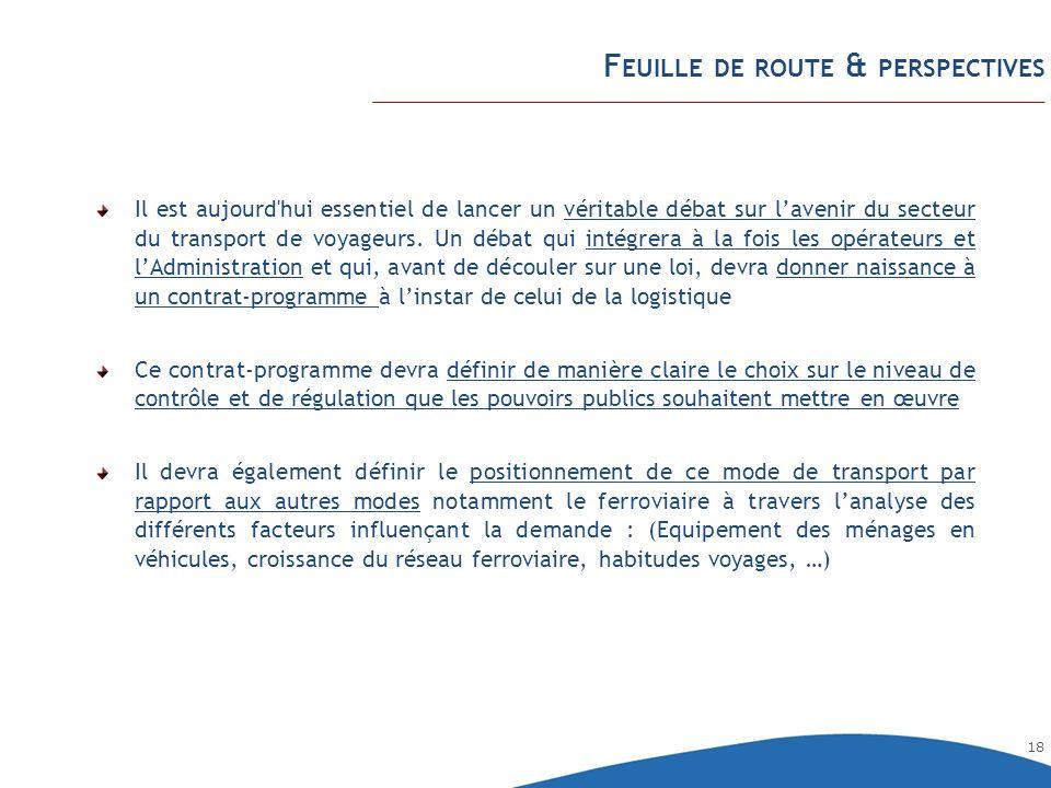 18 F EUILLE DE ROUTE & PERSPECTIVES Il est aujourd'hui essentiel de lancer un véritable débat sur lavenir du secteur du transport de voyageurs. Un déb