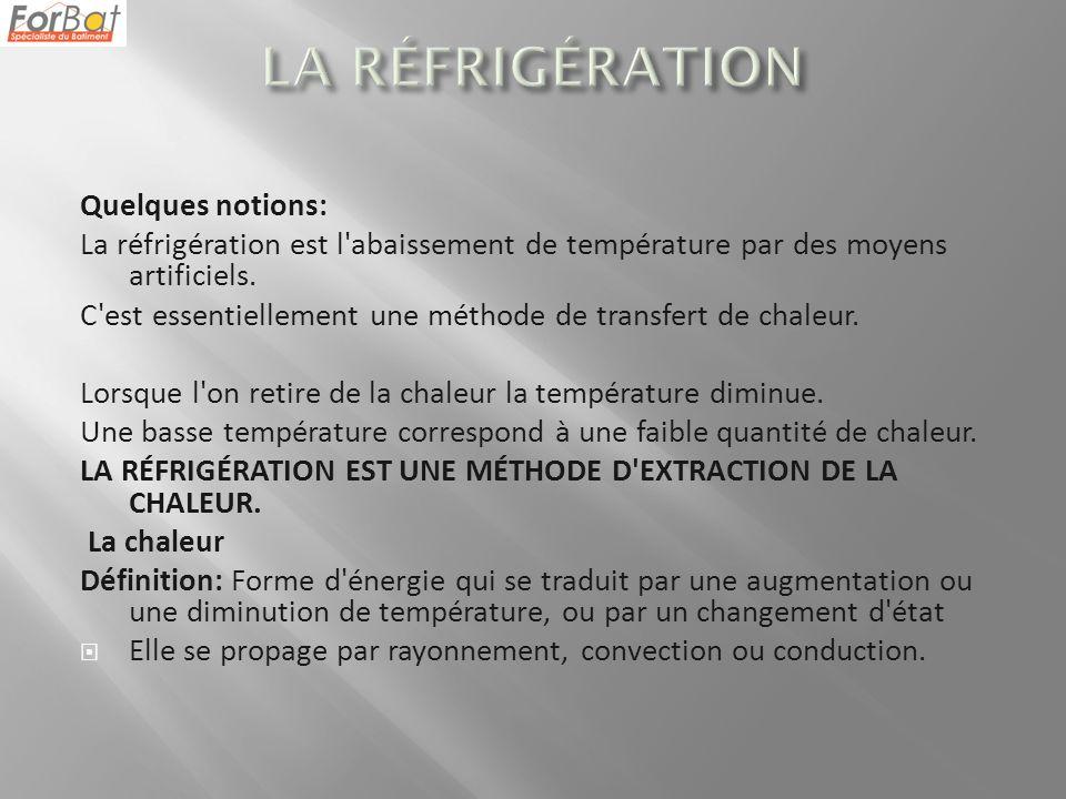 Quelques notions: La réfrigération est l'abaissement de température par des moyens artificiels. C'est essentiellement une méthode de transfert de chal