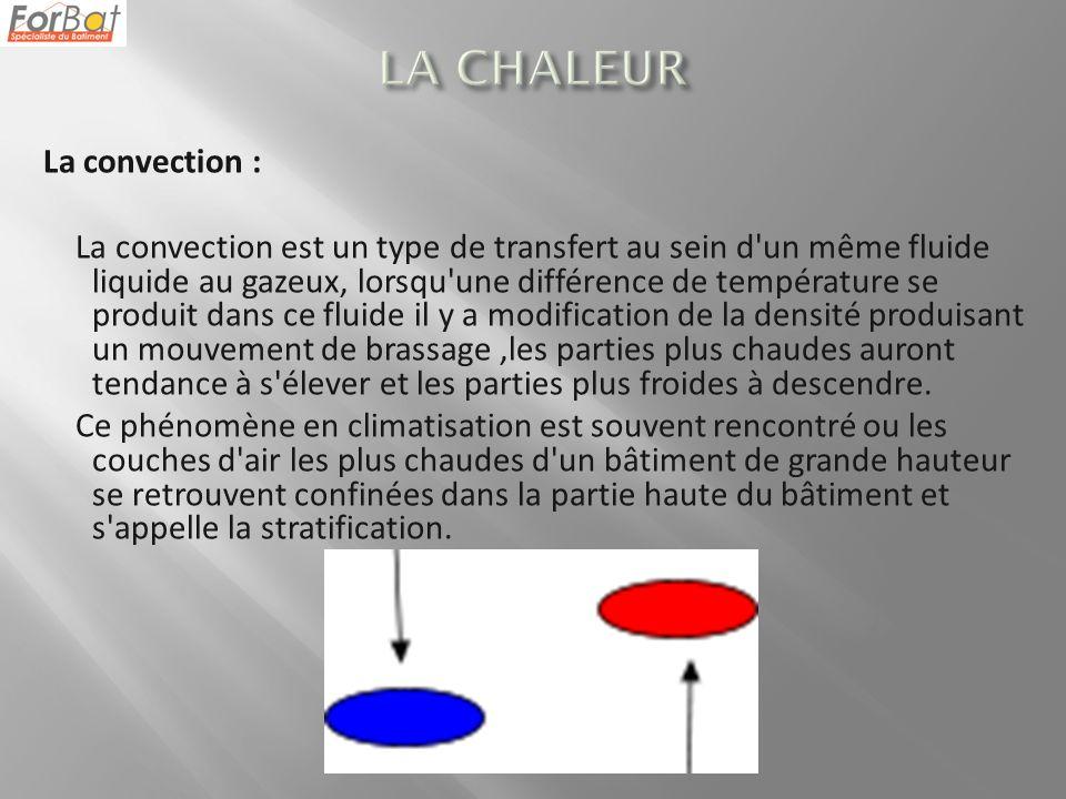 La convection : La convection est un type de transfert au sein d'un même fluide liquide au gazeux, lorsqu'une différence de température se produit dan