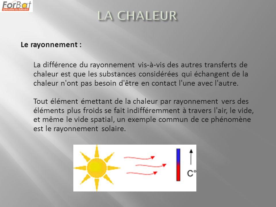 Le rayonnement : La différence du rayonnement vis-à-vis des autres transferts de chaleur est que les substances considérées qui échangent de la chaleu