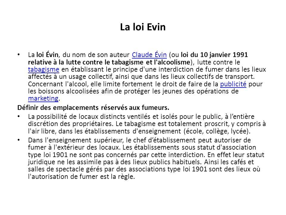 La loi Evin La loi Évin, du nom de son auteur Claude Évin (ou loi du 10 janvier 1991 relative à la lutte contre le tabagisme et l'alcoolisme), lutte c
