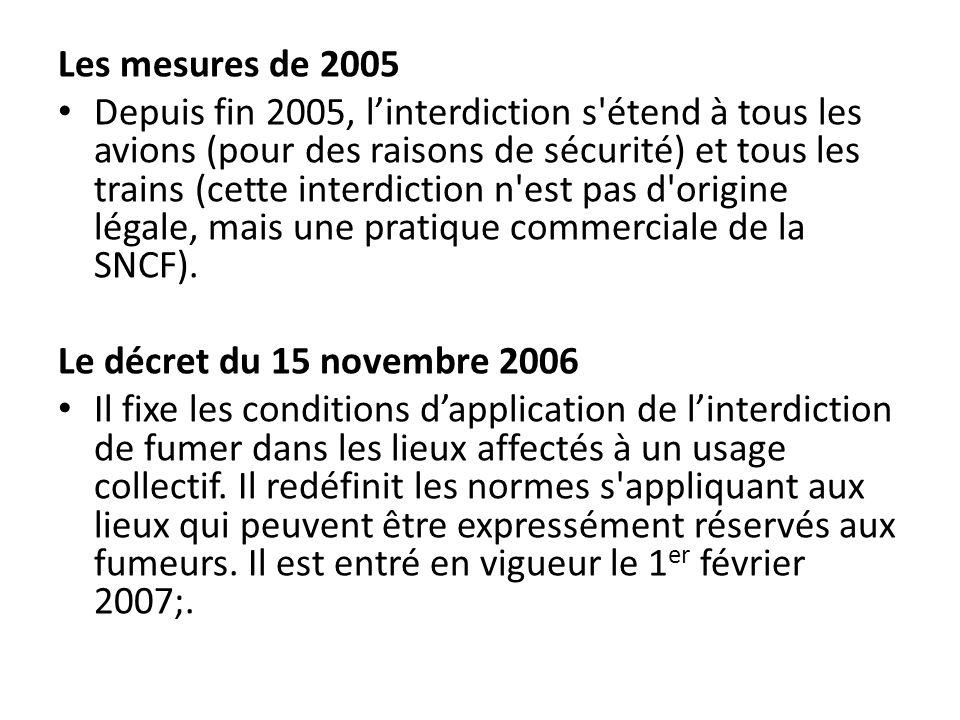 Les mesures de 2005 Depuis fin 2005, linterdiction s'étend à tous les avions (pour des raisons de sécurité) et tous les trains (cette interdiction n'e