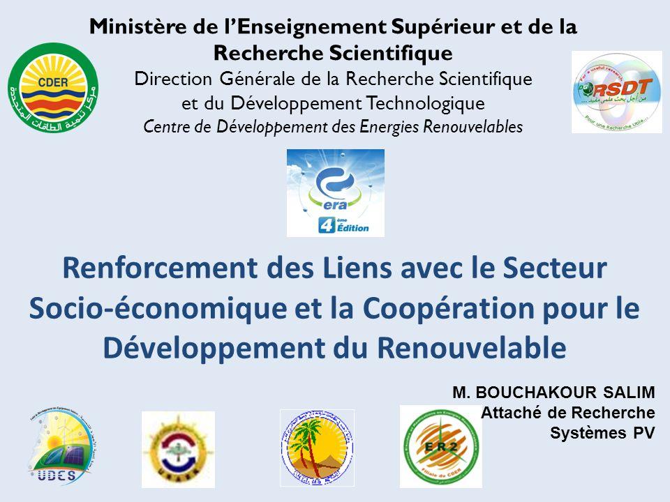 Ministère de lEnseignement Supérieur et de la Recherche Scientifique Direction Générale de la Recherche Scientifique et du Développement Technologique