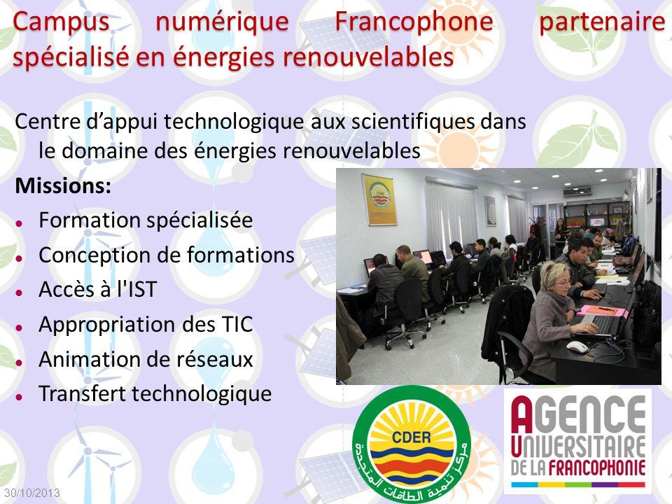 Campus numérique Francophone partenaire spécialisé en énergies renouvelables Centre dappui technologique aux scientifiques dans le domaine des énergie
