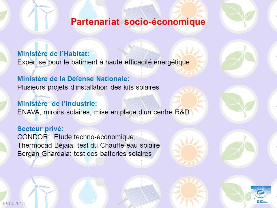 Ministère de lHabitat: Expertise pour le bâtiment à haute efficacité énergétique Ministère de la Défense Nationale: Plusieurs projets dinstallation de