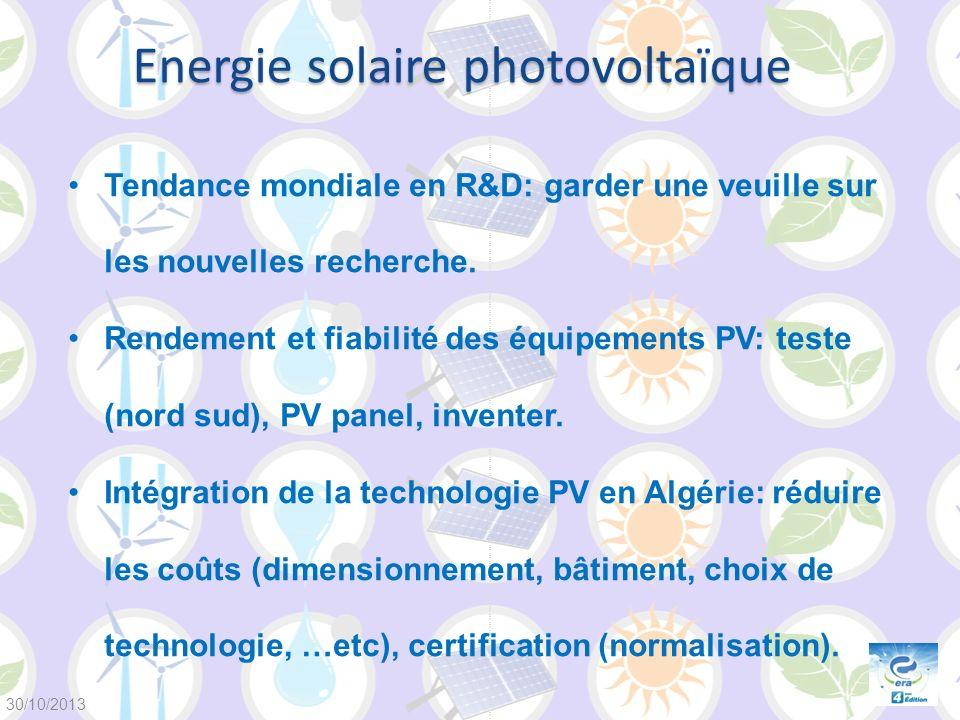 Energie solaire photovoltaïque Tendance mondiale en R&D: garder une veuille sur les nouvelles recherche. Rendement et fiabilité des équipements PV: te