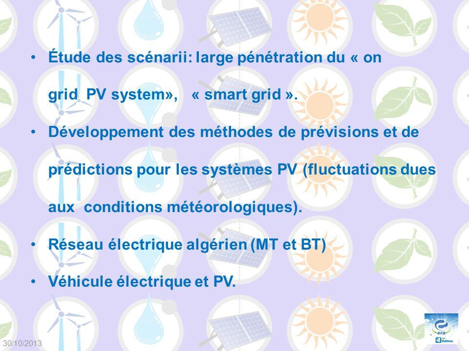 Étude des scénarii: large pénétration du « on grid PV system», « smart grid ». Développement des méthodes de prévisions et de prédictions pour les sys