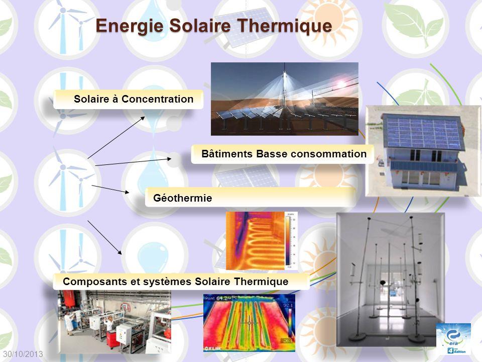 Energie Solaire Thermique Composants et systèmes Solaire Thermique Géothermie Bâtiments Basse consommation Solaire à Concentration 30/10/2013