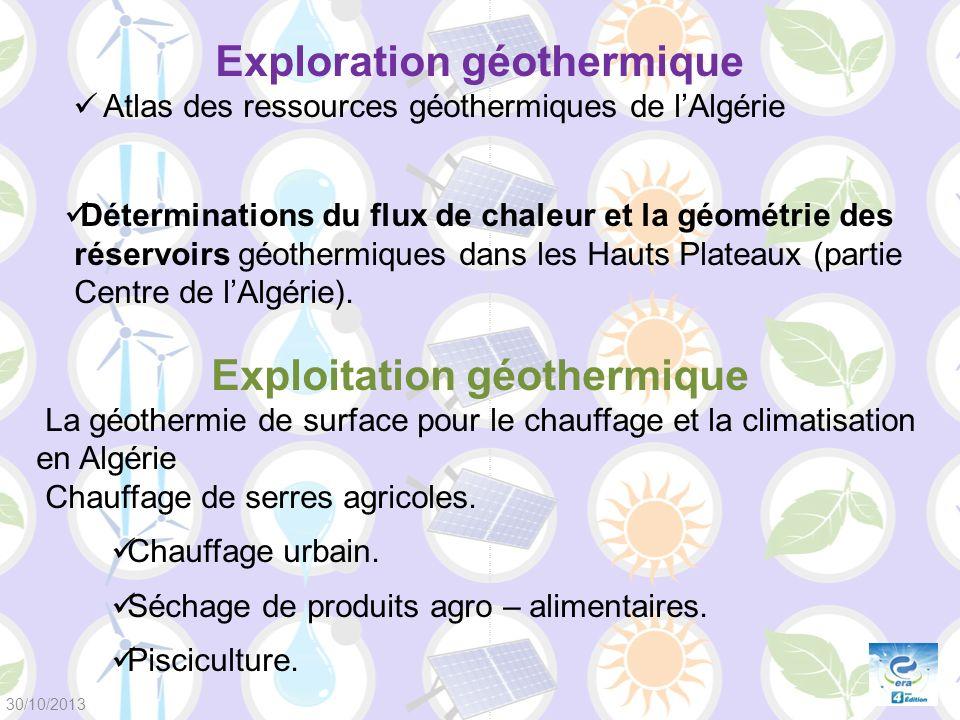 Exploration géothermique Atlas des ressources géothermiques de lAlgérie Déterminations du flux de chaleur et la géométrie des réservoirs géothermiques