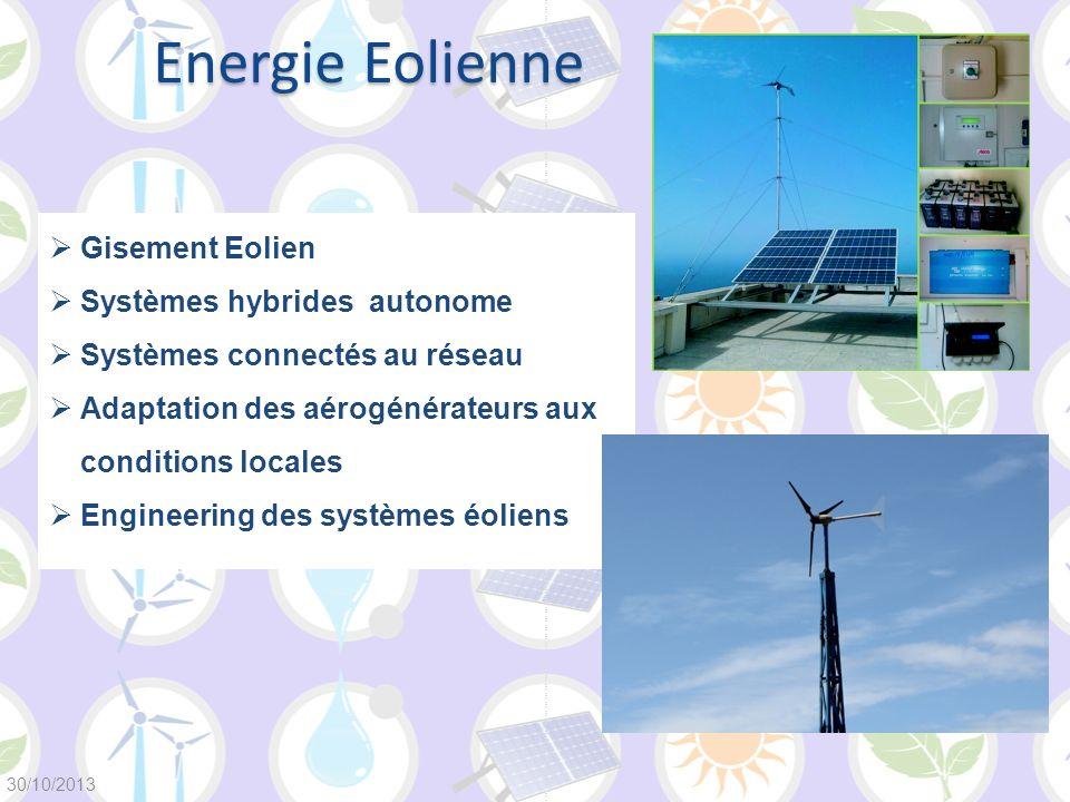 Gisement Eolien Systèmes hybrides autonome Systèmes connectés au réseau Adaptation des aérogénérateurs aux conditions locales Engineering des systèmes