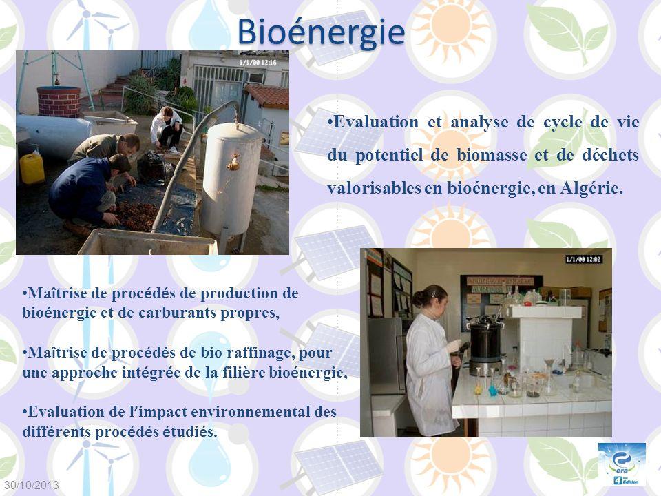 Bioénergie Evaluation et analyse de cycle de vie du potentiel de biomasse et de déchets valorisables en bioénergie, en Algérie. Ma î trise de proc é d