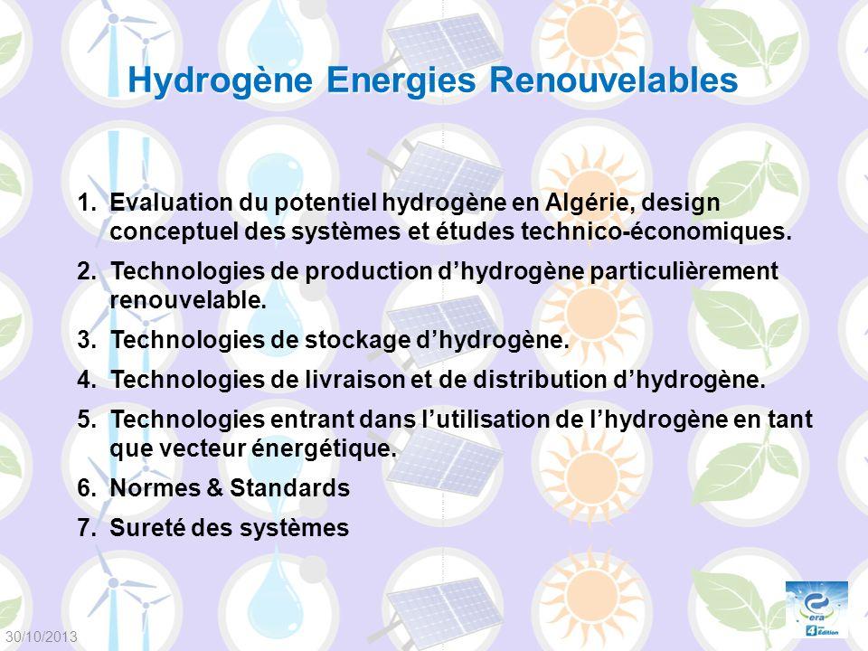 1.Evaluation du potentiel hydrogène en Algérie, design conceptuel des systèmes et études technico-économiques. 2.Technologies de production dhydrogène
