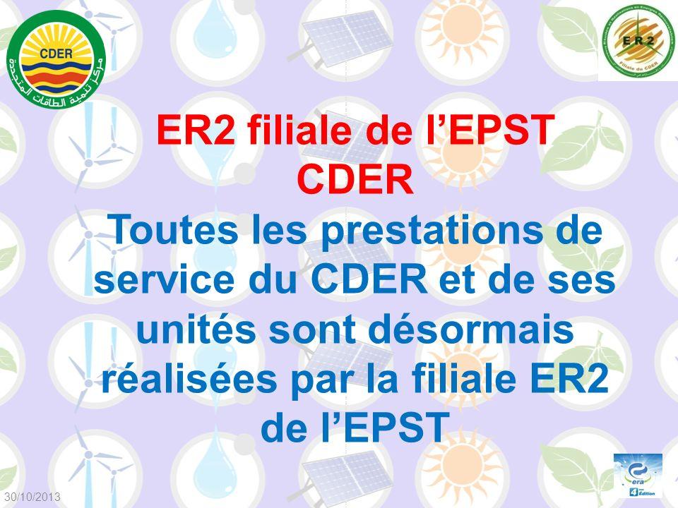 ER2 filiale de lEPST CDER Toutes les prestations de service du CDER et de ses unités sont désormais réalisées par la filiale ER2 de lEPST 30/10/2013