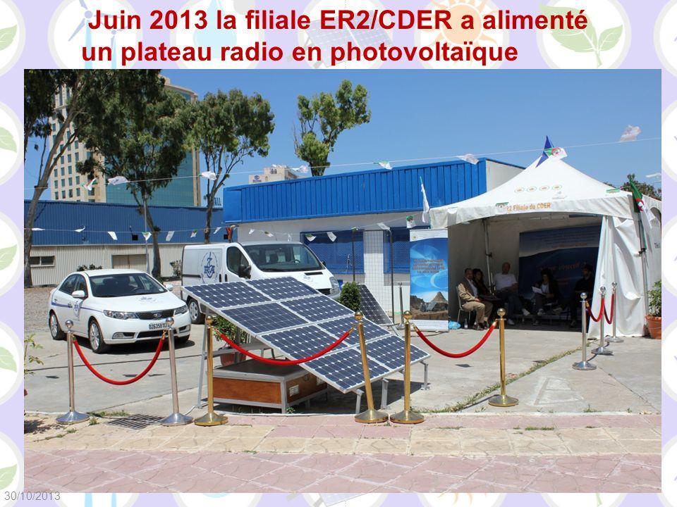 Juin 2013 la filiale ER2/CDER a alimenté un plateau radio en photovoltaïque 30/10/2013