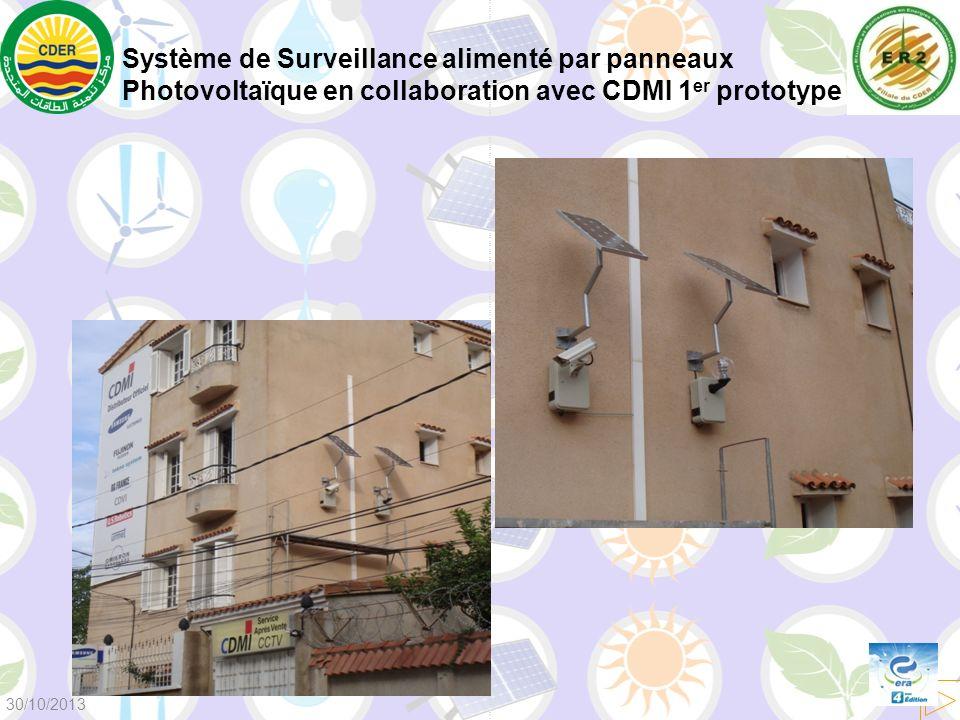 Système de Surveillance alimenté par panneaux Photovoltaïque en collaboration avec CDMI 1 er prototype 30/10/2013