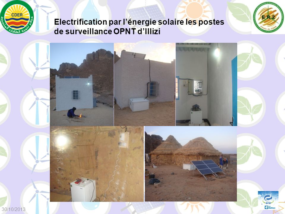 Electrification par lénergie solaire les postes de surveillance OPNT dIllizi 30/10/2013