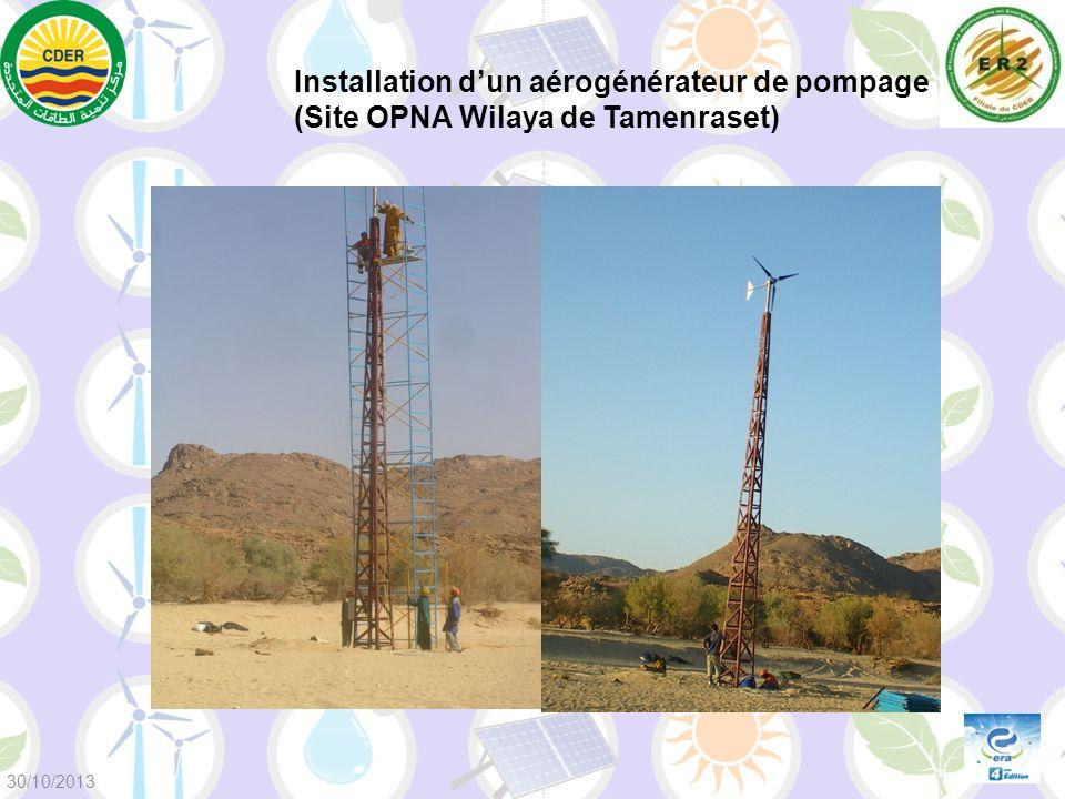Installation dun aérogénérateur de pompage (Site OPNA Wilaya de Tamenraset) 30/10/2013