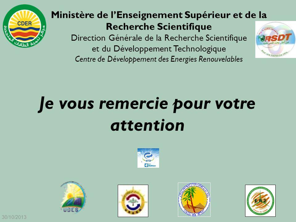 Je vous remercie pour votre attention Ministère de lEnseignement Supérieur et de la Recherche Scientifique Direction Générale de la Recherche Scientif
