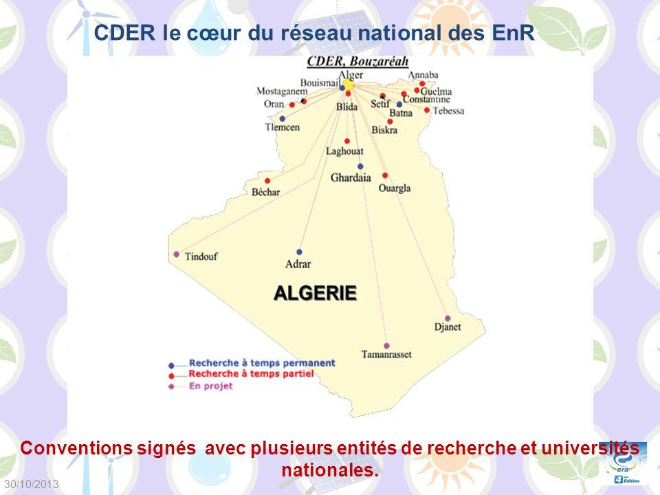 CDER le cœur du réseau national des EnR Conventions signés avec plusieurs entités de recherche et universités nationales. 30/10/2013