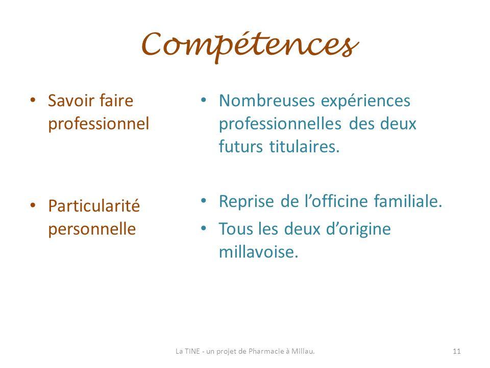 Compétences Savoir faire professionnel Particularité personnelle Nombreuses expériences professionnelles des deux futurs titulaires. Reprise de loffic