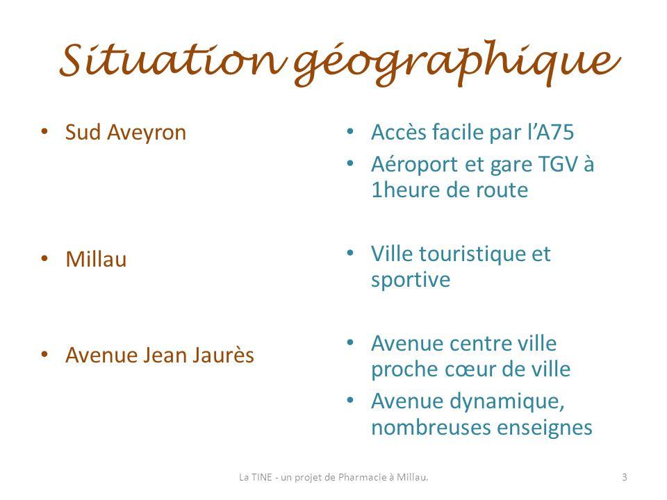 Situation géographique Sud Aveyron Millau Avenue Jean Jaurès Accès facile par lA75 Aéroport et gare TGV à 1heure de route Ville touristique et sportiv