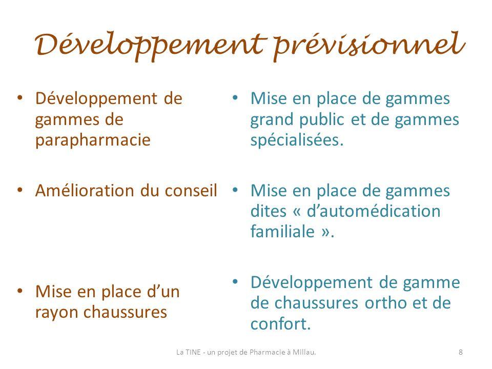 Développement prévisionnel Développement de gammes de parapharmacie Amélioration du conseil Mise en place dun rayon chaussures Mise en place de gammes