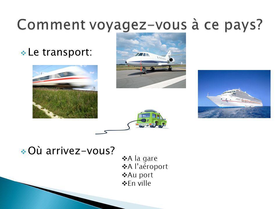 Le transport: Où arrivez-vous? A la gare A laéroport Au port En ville