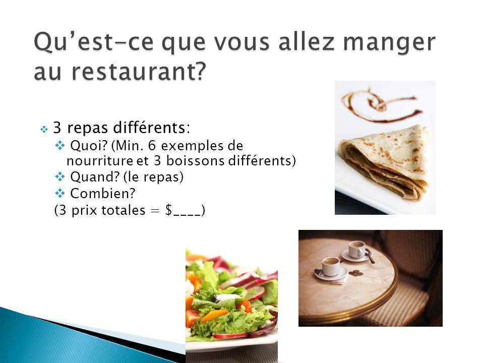 3 repas différents: Quoi.(Min. 6 exemples de nourriture et 3 boissons différents) Quand.