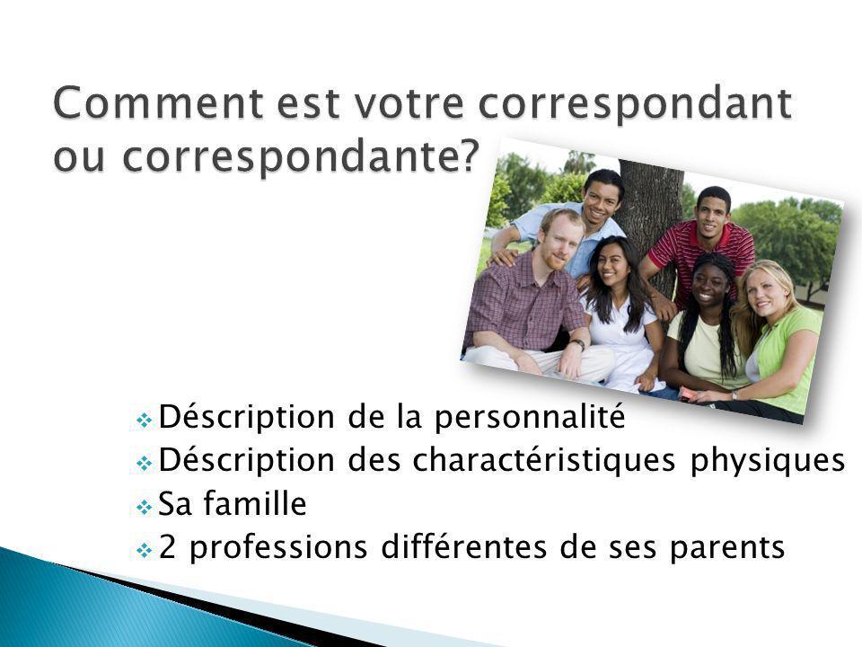Déscription de la personnalité Déscription des charactéristiques physiques Sa famille 2 professions différentes de ses parents